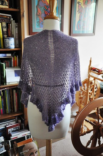 beaded mohair shawlette-modeled by Lola