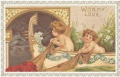 Vintage Cupids Valentines Day Card (Game of Fate) Tags: holiday vintage hearts couple heart valentine romance angels vday cupid greetingcard 1900s hallmark cupids vintagepostcards antiquecards