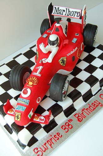 Ferrari F1 Race Car Birthday Cake - diagonal