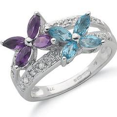 9ct White Gold, Diamond & Gemstone Ring (Jewellery Quarter Store) Tags: wedding gold engagement diamond jewellery amethyst diamondring bluetopaz jewelleryquarterstore