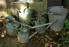 A collection of rather old watering cans (3pebbles) Tags: garden bucket wateringcan gardener wateringpot haws