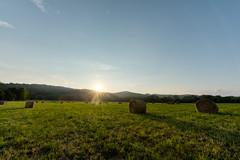 Shawsville Sunset (jon_beard) Tags: sunset summer sky sun field grass rural landscape farm va hay bales hdr shawsville