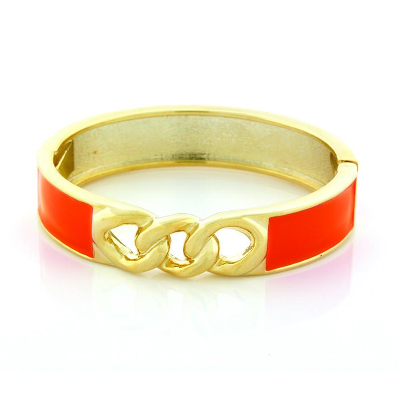 Orange-Gold-Link-Bracelet-Opaleen