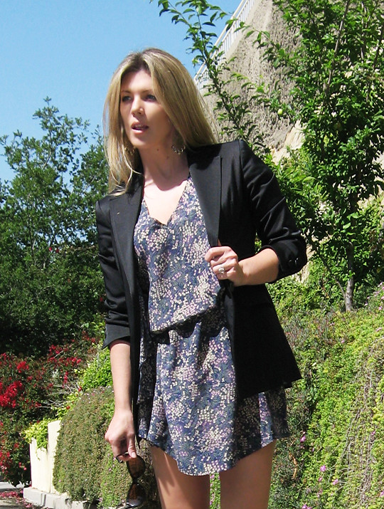 fine floral print dress+black blazer+fiorentini and Baker sandals -cropped, los angeles, the hills, outfit, fashion, what to wear, style, tom ford sunglasses, cat eye sunglasses, LA woman