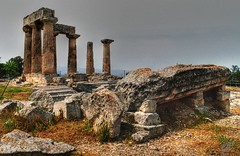 Temple of Apollo, Corinth, Spring 2006 (5telios) Tags: temple ancient nikon corinth el greece 24mm nikkor apollo doric nikkormat monolithic  nikkormatel