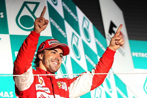Race winner Fernando Alonso (ESP) Ferrari celebrates on the podium. Formula One World Championship, Rd 17, Korean Grand Prix, Race, Korea International Circuit, Yeongam, South Korea, Sunday, 24 October 2010