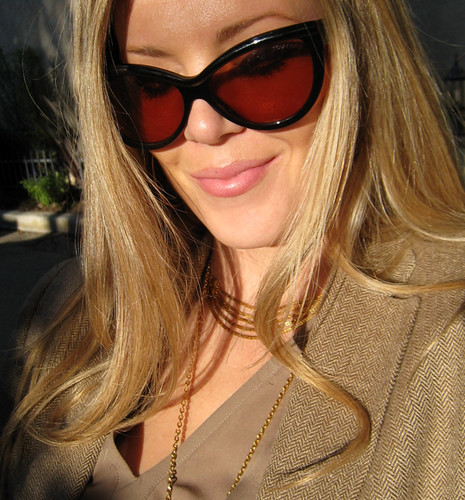 fashion outfit blondes blondehair whatiwore streetstyle goldaccessories lastyle brownsuedeboots cateyesunglasses tomfordsunglasses boutique9shoes ralphlaurenvintageblazer mixedneutrals longstraightblondehair vintage70sperfumebottlenecklace