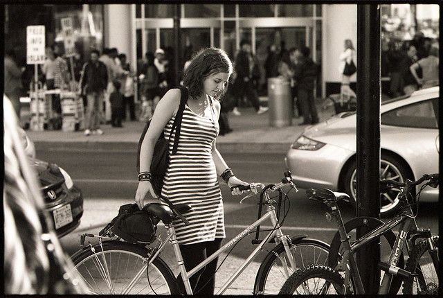 stripey bike gal
