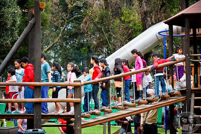 Children Waiting To Zipline At El Ejido Park