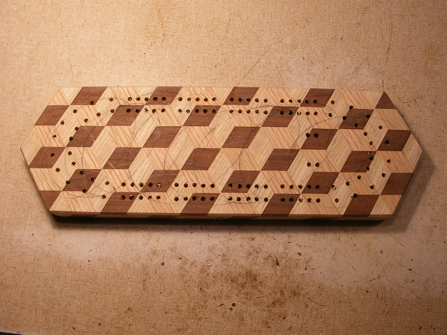 Making a Tumbling Block Cribbage Board #28