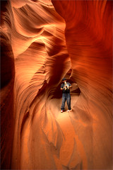 Navajo Guide Leads Group Through a Slot Canyon (howardignatius) Tags: flute page guide navajo hdr slots slotcanyon arizonia lowerantelope