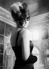 Take me to the Ball. (MC BAILY) Tags: blackandwhite classic beautiful mono model mask feathers palace class venetian masquerade