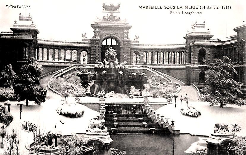 Palais Longchamp sous la neige à Marseille le 14 janvier 1914