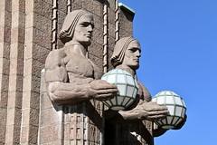 Central Railway Station, Helsinki, Finland (susiefleckney) Tags: helsinki finland centralrailwaystation emilwickström torchbearers