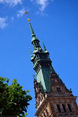 Hamburg Rathaus  / spire (Images George Rex) Tags: hamburg de cityhall rathaus hamburgrathaus spire architecture martinhaller copper photobygeorgerex imagesgeorgerex germany neorenaissance historicism terracotta