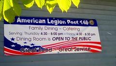 American Legion sign - SS (Maenette1) Tags: americanlegion sign diningroom schedule building menominee uppermichigan signsunday flicker365