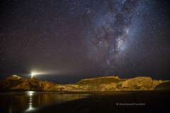 milky way over castlepoint lighthouse and the reef (hueymilunz) Tags: night longexposure sky star winter blue milkyway nz newzealandtransition newzealand nature landscape dark light lighthouse wairarapa castlepoint