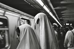 w (gguillaumee) Tags: newyork film night contrast train underground fuji metro platform haloween late neopan ghosts 1600iso