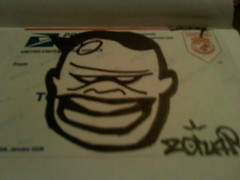 ZONAR SCARY GUY (frank_760) Tags: black graffiti book sticker mail graff slaps zonar