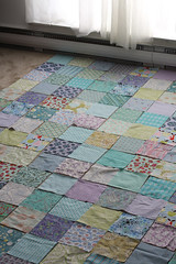 Laying out (Jeni Baker) Tags: blue green colors modern cool december apartment purple quilt handmade turquoise sewing quilting second stitching blogged block quilts patchwork 2009 crafting
