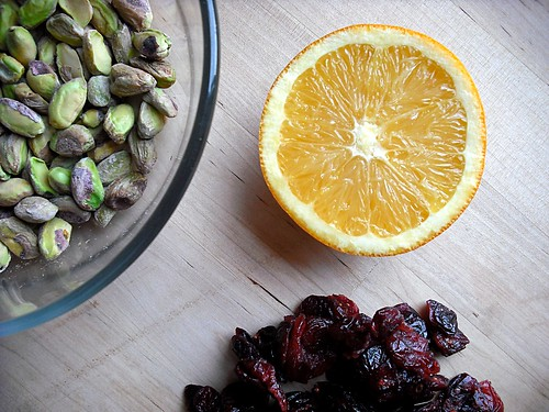 orange, cranberries and pistachios