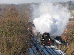 Tangmere near Charing II (rcarpe2) Tags: snow train steam charing tangmere 34067 sussexbelle