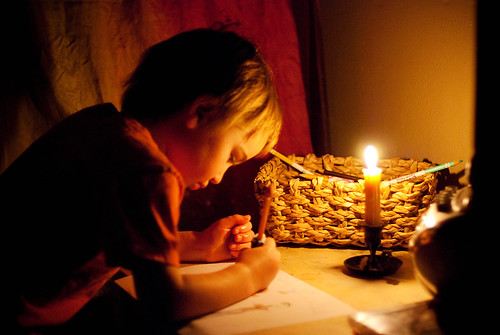 drawing by candlelight