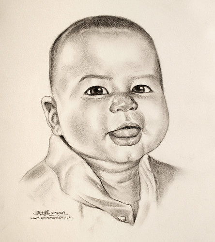 baby portrait in charcoal