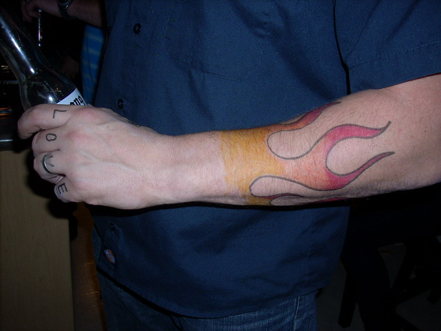 Ken's felt pen tattoo. My family had a masquerade party last night.