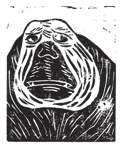 Monkey Portrait Linocut Print