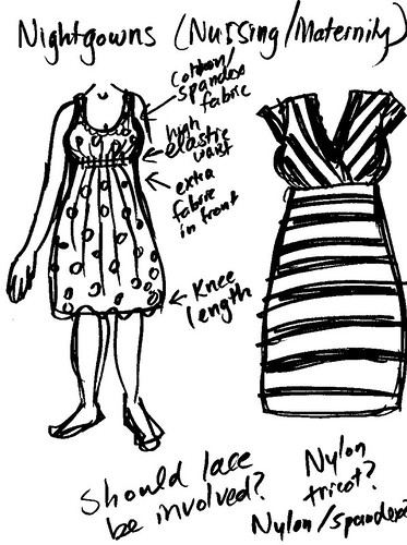 maternity nightgown + dress sketches 1