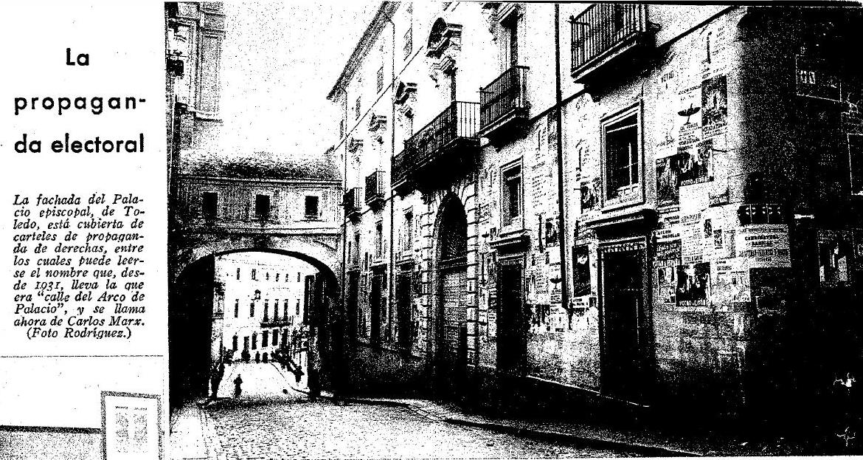 Calle Arco de Palacio cuando se denominaba Carlos Marx. ABC del 15-2-36