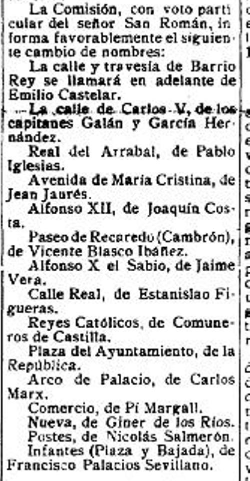 El Castellano. 4 de julio de 1931. Noticia del cambio de denominación de muchas calles en la ciudad