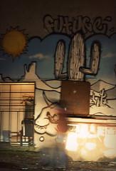 in a rush. (everybodywakeup) Tags: blue cactus sun blur vancouver trash dumpster fence graffiti desert tag future