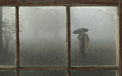 there's a man outside (Stephen's PhotoArt) Tags: window rain fog outside masculine endurance obscurity