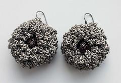 Grey crocheted flower (Julia Kolbaskina) Tags: flowers flower grey beads knitting handmade crochet craft jewelry jewellery earrings knitted crocheted earrigns