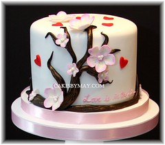 Cherry Blossoms and Hearts (Cakes by Maylene) Tags: cakes hearts bridalshower cherryblossoms fondant gumpasteflowers fondantflowers bridalshowercakes cakesbymaylene fondantcherryblossoms