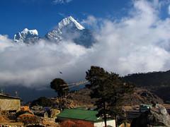 Khumjung-Thamserku-Gokyo Trek-Nepal (mikemellinger) Tags: nepal camp mountains bird beauty clouds trekking trek landscape scenery hiking path snowcapped region khumbu everest base himalayas dole khumjung thamserku gokyo