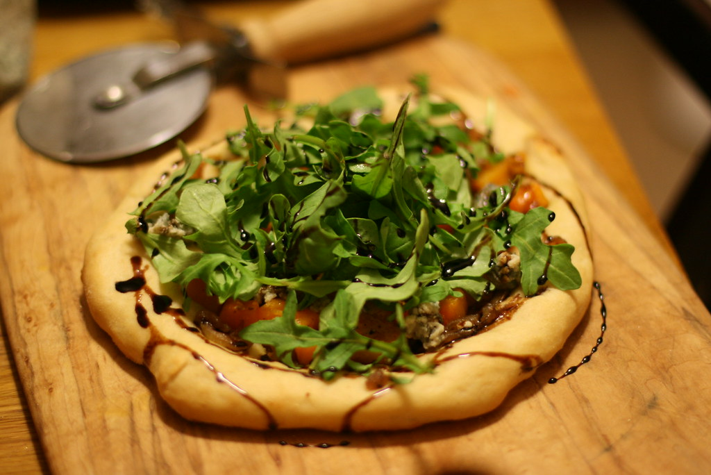 Butternut squash, blue cheese, caramelized onion, arugula and balsamic reduction.