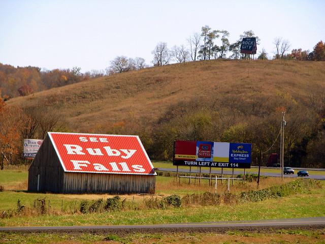 See Ruby Falls barn with Rock City Billboard