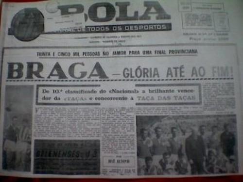 Edição do jornal A Bola no ano de 1966.