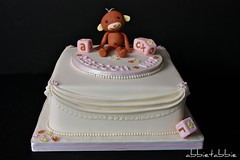 Rebecca May's Christening Cake .... (abbietabbie) Tags: pink brown cake monkey ivory icing christening marzipan fruitcake fondant buildingblocks