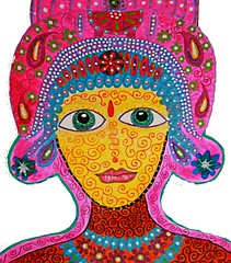 Wood Cut Out Hindu Lady (Rick Cheadle Art and Designs) Tags: blue red brown white abstract black color colour green art floral illustration outside design cool acrylic hand purple graphic dragonfly furniture folk circles painted funky exotic handpainted oil naive spiritual decor eclectic embossed acrylics whimsical ecclectic rickcheadle anniesloanchalkpaint shabbyfrench