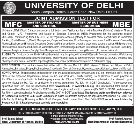 Delhi University Mfc And Mbe Notification
