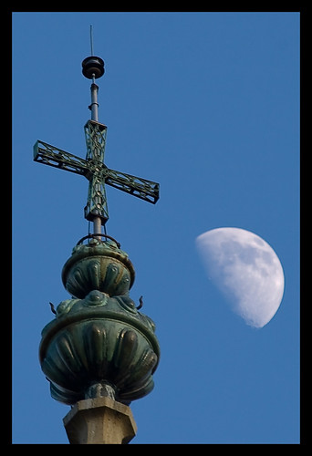 spire and moon