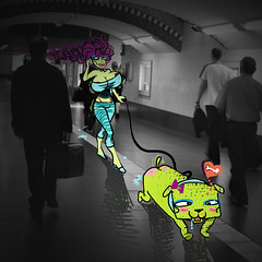 ^,^ (Yoko  (Paulina)) Tags: city people dog green animal monster photoshop fun deutschland women funny foto drawing lol sony bahnhof grafik menschen hund hunger aachen ugly lustig draw grn frau yoko wacom xd tier mnner januar 2010 zeichnung brste hsslich knochen spazieren titten sabber grafiktablet gelste yokosfoto yokosarts