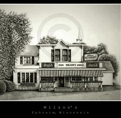 Wilson's (graphite pencil drawing) (OneEyedJax) Tags: wisconsin restaurant drawing ephraim wilsons doorcounty pencildrawing graphitedrawing hwy42