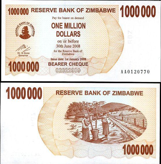 1 milión dolárov Zimbabwe 1.1.2008