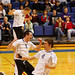 The men's volleyball team celebrates.