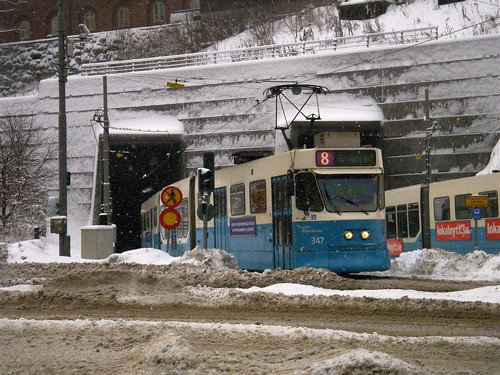 Göteborg tram coming out of subway